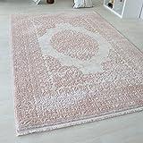 Moderner Teppich mit Medaillon Muster für Wohnzimmer Kurzflor in Grau, Beige und Rosa in versch. Größen. Vintage Teppich mit Fasern. (160 x 230 cm, Rosa)