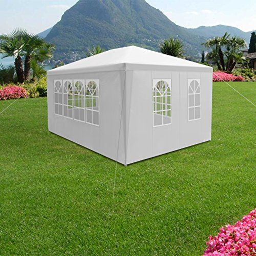 LANGRIA Eventzelt 4 x 3 m, 20,9kg, Hochwertiges Partyzelt mit 4 abnehmbare Seitenwände und 4 Fenster weiß