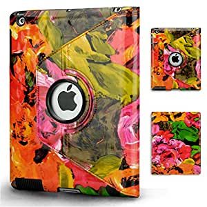 Gadgeo Flower Design 360 Degree Rotating Smart Case Cover Stand for iPad 2 / 3 / 4