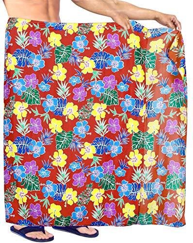 LA LEELA Männer hawaiische Strand Sarong Pareo Badetuch Hibiskus Blumen gedruckt lässig Wrap Rot_Y592 78