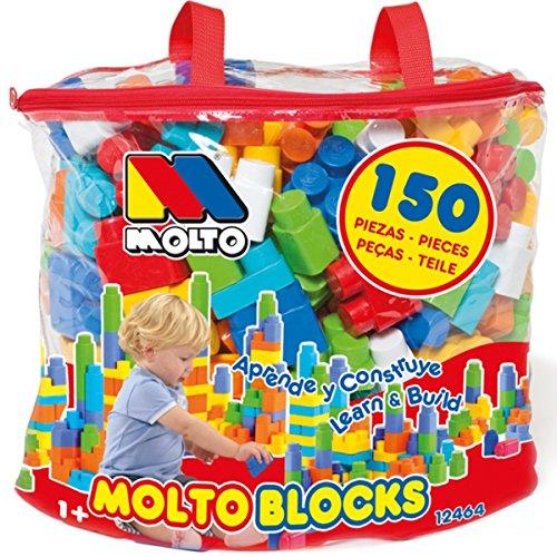 Unbekannt 150 Bausteine in Tasche, Verschiedene Größen und Farben, ab 1 Jahr - Kinder Spielzeug Steine Bauklötze Spielfiguren Steckbausteine