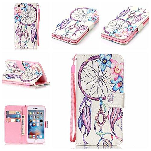 Cuir Portefeuille Coque pour Apple iphone 6 6S 4.7 Bleu, Élégant iPhone 6S étui Rabat Style, iPhone 6 Case, Joli Image Peinture - Windbell Rose
