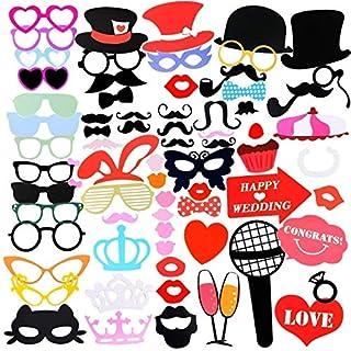 Gyvazla Accessoires Photo Booth Props, 75pcs Masquerade Accessoires de Photos Lèvre/Lunettes/Cravate/Couronne/Lunettes/Moustache Avec Bâton, pour Mariage Anniversaire Graduation Party