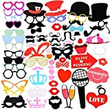 Gyvazla 75Pcs DIY Photo Booth Props Incluyendo Bigotes Gafas Pelo