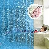 Echoice Duschvorhang Eva Wasserdicht Anti-Schimmel mit 12 Edelstahlhaken für Badezimmer, 180 x 180cm, Blau