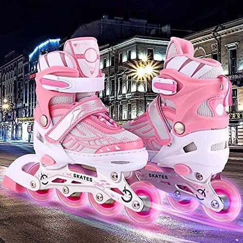 fiugsed Leucht PU Räder Inline-Skates Rollschuhe für Kinder, Canvas-Design verstellbar mit leuchtenden PU-Rädern Triple Protection Lightweight Inline Skates, größenverstellbar von 31 bis 42