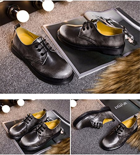 QIYUN.Z Style ecole Angleterre Femmes Bas Arbre Martin Chaussures Simples Lacets Millesime Gris Mat