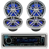 """New Kenwood Outdoor KMR-D362BT Bluetooth Marine Boat /Car ATV AM/FM Radio CD/MP3 USB iPod iPhone Pandora Stereo Player With 4 New 6.5"""" Inch Dual Marine Speakers System - Graet Marine Audio Package (Black)"""