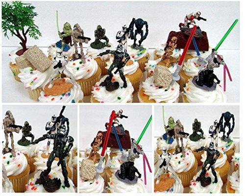 Star Wars Cupcake-Topper Set mit Sturmtroopers, Soldaten, Fisto und Asajj Ventress, dekoratives Zubehör, Figuren durchschnittlich 3,8 cm bis 60 cm hoch