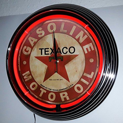 neonuhr-38-cm-texaco-gasoline-motor-oil-neon-rot-werkstatt-wanduhr-neonreklame-usa-50s-style