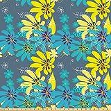 ABAKUHAUS Gelb und Blau Stoff als Meterware, Exotische