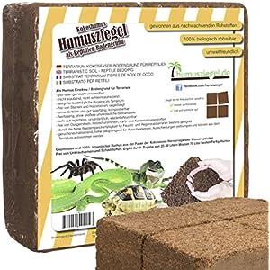 [Gesponsert]Humusziegel | 70 L Kokoseinstreu Bodengrund für Reptilien | natürliches Terrariensubstrat aus gepresster Kokoserde | Kokosziegel aus Kokosfaser - fein - | in 4 Portionen teilbar