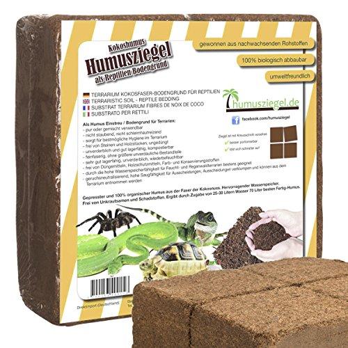 Humusziegel | 70 L Kokoseinstreu Bodengrund für Reptilien | natürliches Terrariensubstrat aus gepresster Kokoserde | Kokosziegel aus Kokosfaser - fein - | in 4 Portionen teilbar