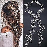 biu 100 cm matrimonio capelli gioielli filo perle strass cristallo sposa  gioielli sposa capelli pettine per 8e972548cb67