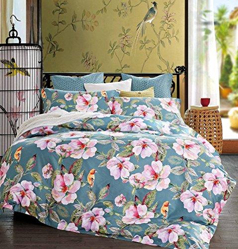 Exotic Modern Floral Print Bettwäsche Birds Blumen Dusty Grau Design 100% Baumwolle Bettbezug 3-teiliges Set Hibiskusblüten Zweige in gedeckten grau blau, baumwolle, Dusty Teal, King Size -
