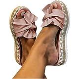 Yellsong Damen Sommer Sandalen Casual Bogen Wedge Peep Toe High Heel Plattform Flache Schuhe rutschfest Hausschuhe Pantolette