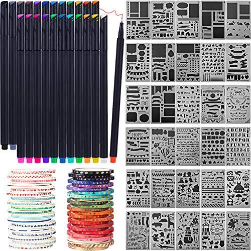 Honoson Scrapbooking Lieferungen Kit Scrapbook Werkzeuge und Lieferungen Journal Schablone Washi Tape und Journal Planer Stift für Journal Notizbuch Tagebuch DIY Kunststoff Zeichnung Vorlage (Stil C) -
