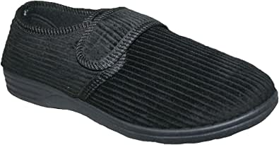 Diabetic Orthopedic Men's Easy Close Wide-Fitting Touch Close Bar-strap Shoe Slipper