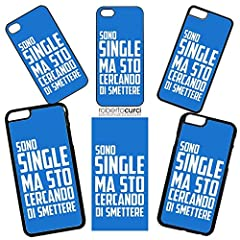 Idea Regalo - Curci Roberto Cover Apple - Frase SONO SINGLE MA STO CERCANDO DI SMETTERE - Apple iPhone 6 6S, Blu