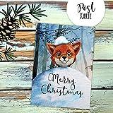 ilka parey wandtattoo-welt A6 Weihnachtskarte Weihnachtsgrüße Postkarte Print Fuchs mit Schnee im Winterwald Grußkarte Karte Merry Christmas pk221 - ausgewählte Menge: *1 Stück*