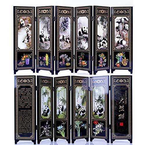 Orientalische Holz-bildschirm (iFireFly 6 Paneele, lackiert, klein, zusammenklappbar, groß, Panda-Dekoration, Home-Desktop Trennwand oder als Geschenk)