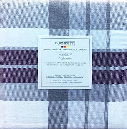 Dormisette Germany Betten 3Stück Queen Size Luxus Flanell Bettbezug Set Plaid Muster in Den Farben Burgund Rot, Grau und Creme - Queen-size-standard-tröster