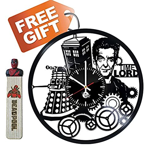 Doctor Who Vinyl Record Wall Clock - Get unique kids, bad room wall art décor - Gift ideas for boy, girl, kid – Unique comics art design - Leave us a feedback and win your custom clock