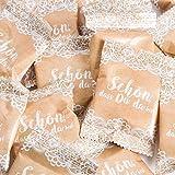 25 Stück kleine Päckchen hell-braun natur Gummibärchen give-away Gastgeschenk SCHÖN DASS DU DA BIST Mitgebsel Hochzeit Geburtstag Fest Geschenk Kunden Gäste goodies