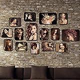 Unbekannt [Loves] pcs Schwarz Bilderrahmen Set Retro- Foto-Wand-Salon/Friseursalon-Wand-Dekoration 15 Foto-Rahmen-Kombination personifizierte dekorative Friseursalon-Hintergrund-Wand (Farbe : A)