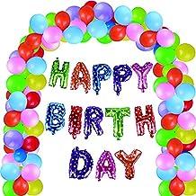 100 pcs Globos de Feliz Cumpleaños HAPPY BIRTHDAY Colores Cute Decoración para Fiesta Partido Juego de Niño Adulto (C)
