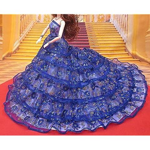 Youvinson Varios vestidos de novia hechos a mano y ropa para muñecas Barbie (Azul Oscuro)