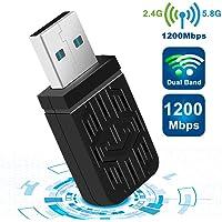 10 Linx 2.6X Adattatore USB WiFi Dual Band 5.8G//2.4G adattatore con antenna 5dBi per Mac PC desktop laptop KamKorda 1200 Mbps Vista 7 8 Mac OS X compatibile con Windows XP USB 3.0