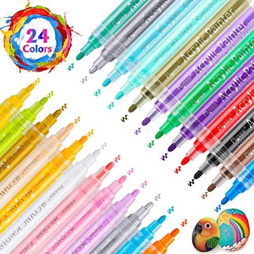 RATEL Pennarelli a Vernice acrilica, 24 Colori Premio Impermeabile Pittura Arte Pennarello Set Vernice Permanente Pennarelli Metallici per Pittura su Roccia, Ceramica, Vetro, Tela, Tazza, Metallo