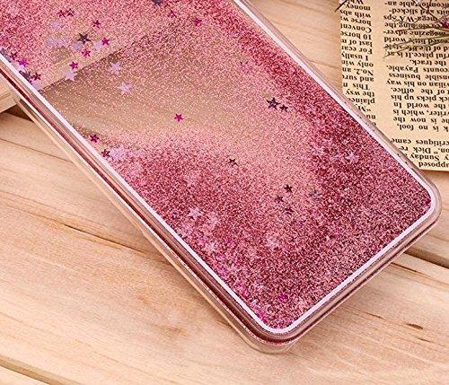 new style 246fd 11de0 KC Liquid 3D Bling Glitter Star Case Flowing Liquid with Glitter Star,  Bling Transparent Back Cover for Galaxy J7 Prime (SM-G610F) - Rose Gold