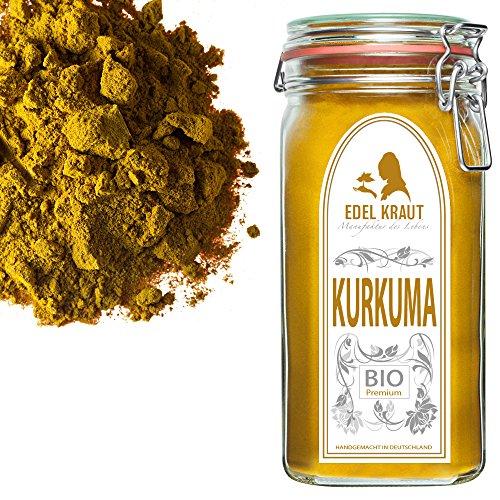 EDEL KRAUT | BIO KURKUMA-WURZEL (gemahlen) Curcuma PULVER im Premium Glas - für Smoothies, Goldene...