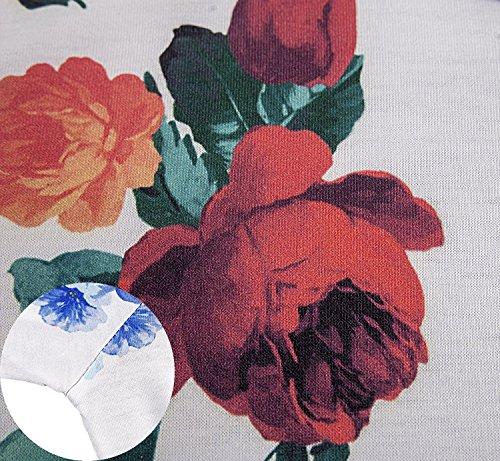 Damen Blumen Kleid Gestreiftes Rundhals Sommerkleid Tunika kleider Weiß