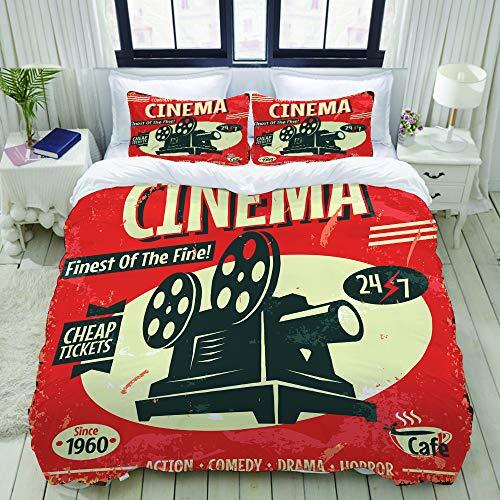 ALLMILL Bettwäsche-Set, Mikrofaser,Film Retro Kinofilm Vintage alte Kamera Theater,1 Bettbezug 135 x 200cm+ 2 Kopfkissenbezug 80x80cm
