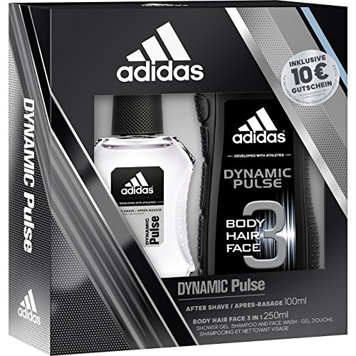 adidas Geschenkset Dynamic Pulse 1 Set beinhaltet: Dynamic Pulse After Shave (100 ml) & Dynamic Pulse Body, Hair & Face 3in1 Duschgel (250 ml)