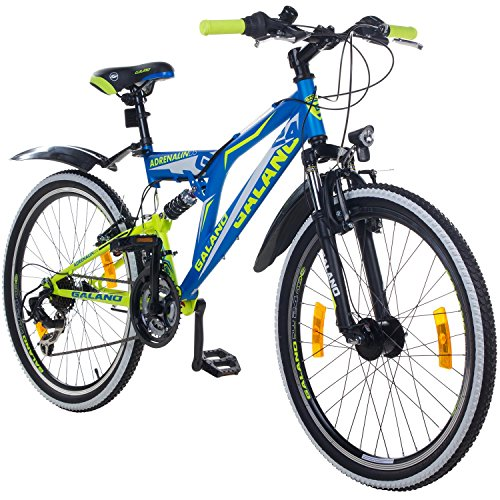 24 Zoll MTB Fully Galano Adrenalin DS Mountainbike STVZO Jugendfahrrad B-WARE, Farbe:blau / grün