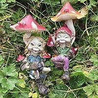 Pixie Par Sat menores de setas; Magical Mystery alta calidad Jardín Decoración Figuras Elfo & Fairy Niños, Juego de 2.
