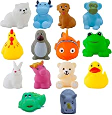 Babytintin High Quality Non-Toxic Soft Chu Chu Mix Animal Bath Toys Set of 14 PCS Multi-Color