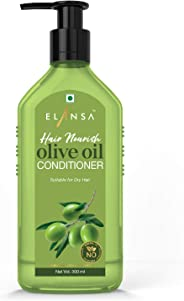 Elansa Hair Nourish Olive Oil Conditioner - No Parabens, Color, Mineral Oil and Silicones, 300 ml