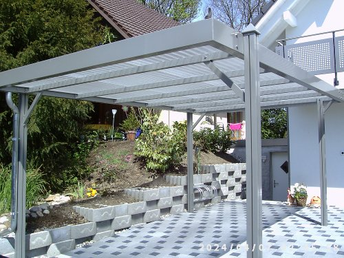 AKTION Aluminium Carport LUXOR RAL 9016 weiß Komplettbausatz inkl. Polycarbonat Dacheindeckung und Pyramidenkappen 5100mm x 3070mm x 2135mm