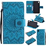For Sony Xperia X Case [Blue],Cozy Hut [Wallet Case] Magnetic Flip Book Style Cover Case ,High Quality Classic New design Sunflower Pattern Design Premium PU Leather Folding Wallet Case With [Lanyard Strap] and [Credit Card Slots] Stand Function Folio Protective Holder Perfect Fit For Sony Xperia X/F5122 5,0 inch - blue