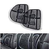 KT SUPPLY 2pz Schienale Ergonomico Pad supporto lombare con fascette regolabili per sedie sedile auto e poltrona da ufficio casa, riduce il dolore della sciatica e coccige