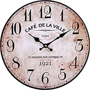 LB H&F Vintage Wanduhr lautlos ohne tickgeräusche Küchenuhr von Lilienburg braun antik Shabby Chic Design Wand Cafe mit lautlosem Uhrwerk - KEIN Ticken