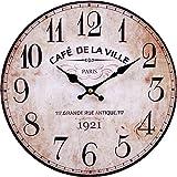 LB H&F Vintage Wanduhr Küchenuhr von Lilienburg braun antik Shabby Chic Design Wand Cafe