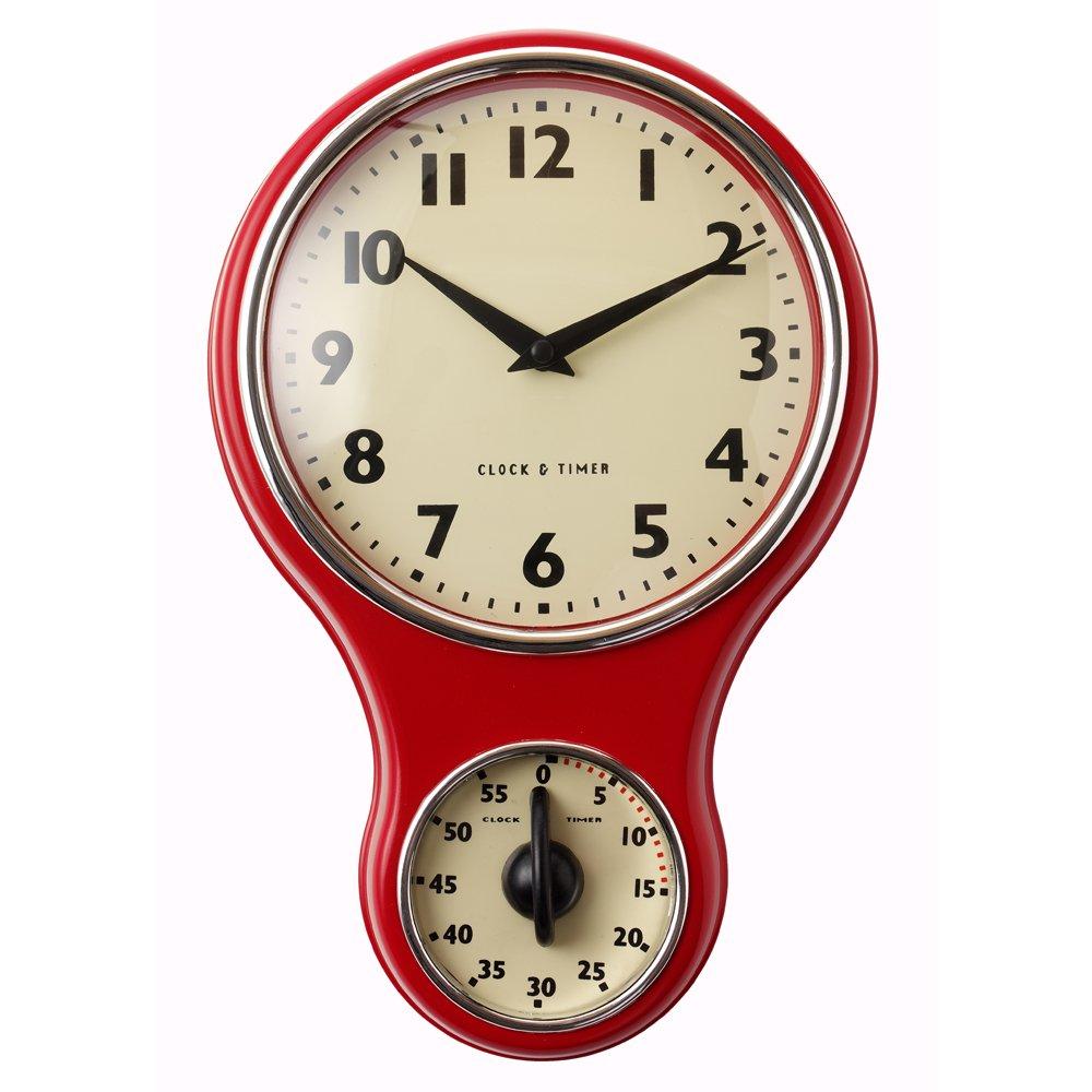 ProCook Retro Kitchen Clock & Timer Black: Amazon.co.uk: Kitchen ...