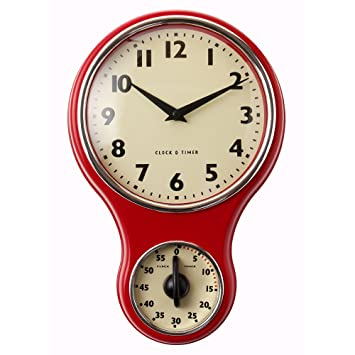 ProCook Retro Kitchen Clock U0026 Timer Red