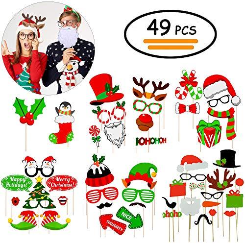 Vibury 49 Stück Weihnachten Foto Fotoaccessoires - DIY Weihnachts Photo Booth Props Zubehör für Erwachsene Kinder Weihnachten Party Dekoration